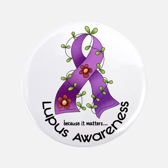 "Flower Ribbon LUPUS 3.5"" Button (100 pack)"