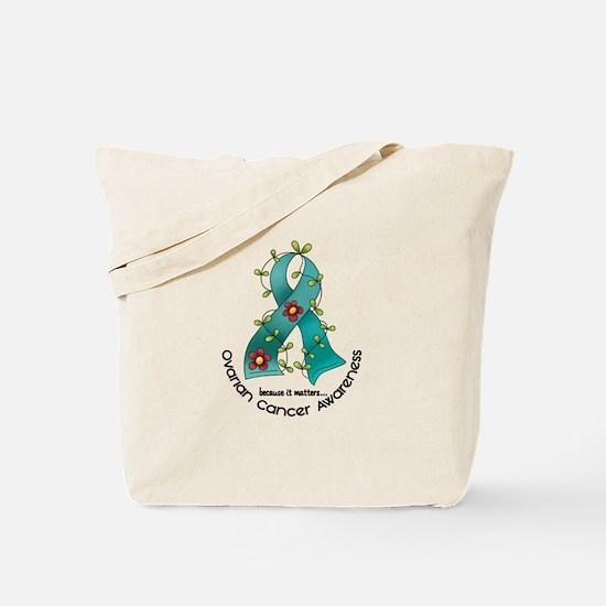 Flower Ribbon OVARIAN CANCER Tote Bag
