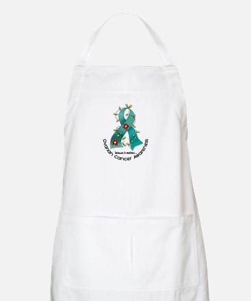 Flower Ribbon OVARIAN CANCER BBQ Apron