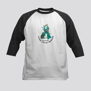 Flower Ribbon OVARIAN CANCER Kids Baseball Jersey