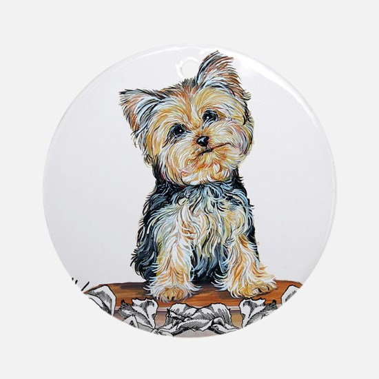 Yorkshire Terrier Small Dog Ornament (Round)