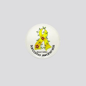 Flower Ribbon SARCOMA Mini Button