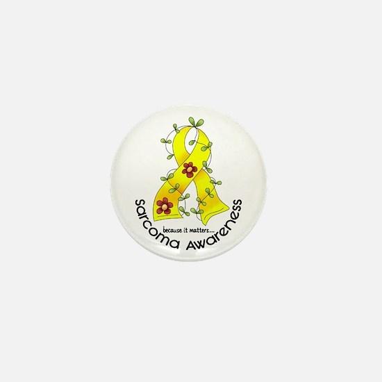 Flower Ribbon SARCOMA Mini Button