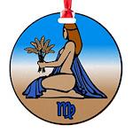 Virgo Zodiac Astrological Art Round Ornament