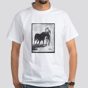 White T-Shirt with horses at play