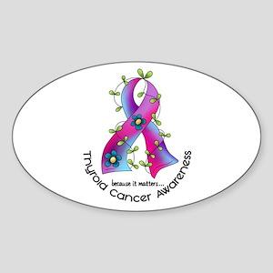 Flower Ribbon THYROID CANCER Oval Sticker