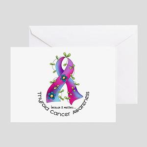 Flower Ribbon THYROID CANCER Greeting Card