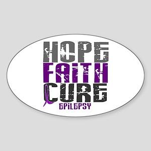 HOPE FAITH CURE Epilepsy Oval Sticker