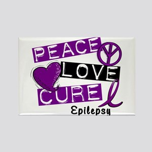 PEACE LOVE CURE Epilepsy (L1) Rectangle Magnet