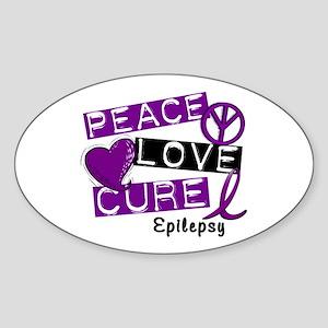 PEACE LOVE CURE Epilepsy (L1) Oval Sticker
