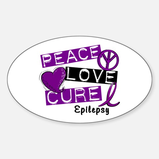 PEACE LOVE CURE Epilepsy (L1) Oval Decal