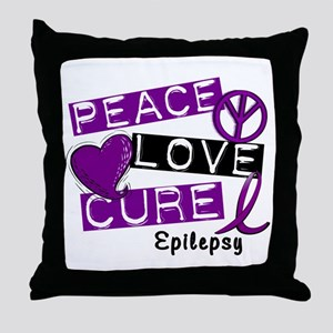 PEACE LOVE CURE Epilepsy (L1) Throw Pillow