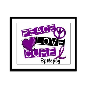 PEACE LOVE CURE Epilepsy (L1) Framed Panel Print