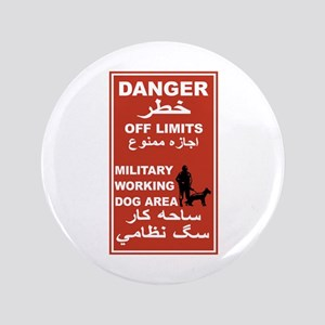 """Danger Off Limits, Afghanistan 3.5"""" Button"""