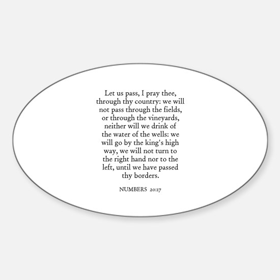 NUMBERS 20:17 Oval Decal