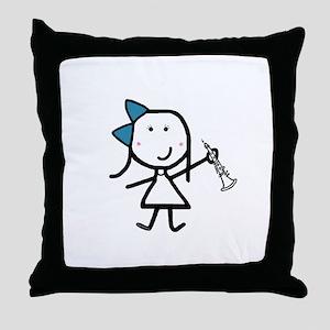 Girl & Oboe Throw Pillow
