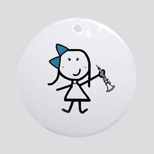 Girl & Oboe Ornament (Round)