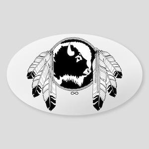Metis Spirit Buffalo Native Art Sticker (Oval)