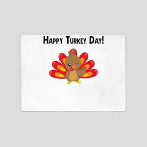 Happy Turkey Thanksgiving Cute Fall 5'x7'Area Rug