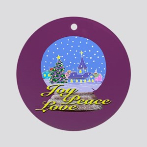 Joy, Peace, Love Holiday Gifts Ornament (Round)