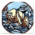 "Tribal Bear Art Square Car Magnet 3"" x 3"""