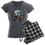 Tribal Bear Art Women's Charcoal Pajamas