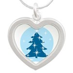 Blue Christmas Tree Silver Heart Necklace