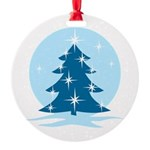 Blue Christmas Tree Round Ornament