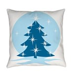 Blue Christmas Tree Everyday Pillow