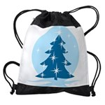 Blue Christmas Tree Drawstring Bag