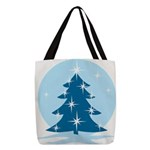 Blue Christmas Tree Polyester Tote Bag