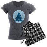Blue Christmas Tree Women's Charcoal Pajamas