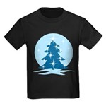 Blue Christmas Tree Kids Dark T-Shirt