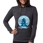 Blue Christmas Tree Womens Hooded Shirt