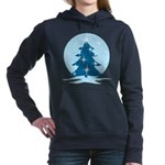 Blue Christmas Tree Women's Hooded Sweatshirt