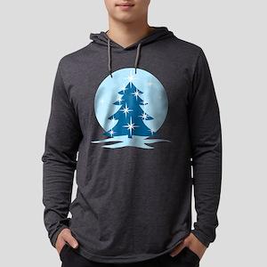 Blue Christmas Tree Mens Hooded Shirt