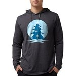 Blue Christmas Tree Mens Hooded Shirt
