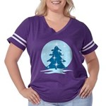 Blue Christmas Women's Plus Size Football T-Shirt