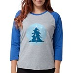 Blue Christmas Tree Womens Baseball Tee