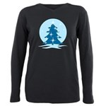 Blue Christmas Tree Plus Size Long Sleeve Tee