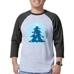 Blue Christmas Tree Mens Baseball Tee