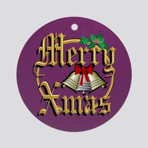 Merry Exmas Holiday Gifts Ornament (Round)