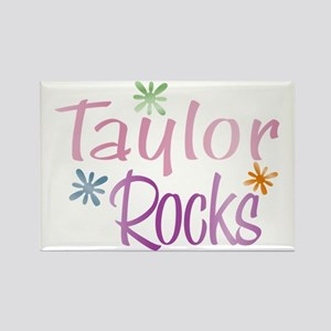 Taylor Girl's Name Rocks Rectangle Magnet