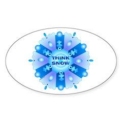 Think Snow Flake Oval Sticker (10 pk)