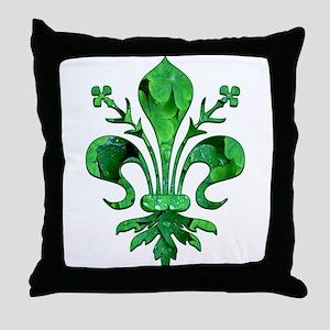 Irish Green Fleur de lis Throw Pillow