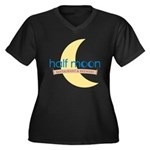 Half Moon Women's Plus Size V-Neck Dark T-Shirt