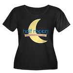 Half Moon Women's Plus Size Scoop Neck Dark T-Shir