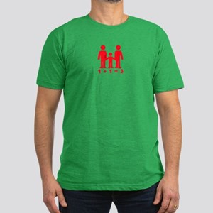 1 + 1 = 3 (graphic of family) Men's Fitted T-Shirt