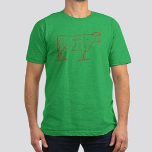 Retro Beef Cut Chart Men's Fitted T-Shirt (dark)