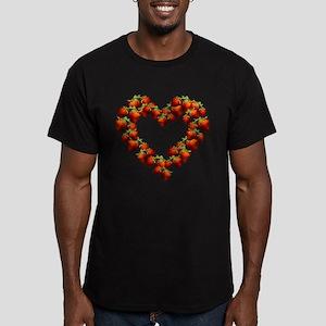 Strawberry Heart Men's Fitted T-Shirt (dark)
